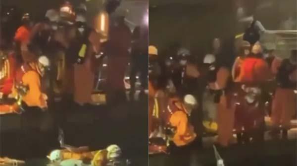 Lực lượng chức năng có mặt tại hiện trường để đưa nạn nhân lên bờ