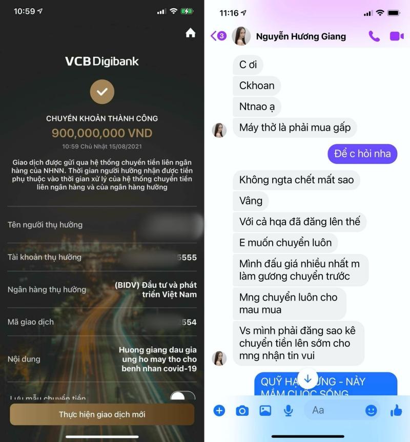 Xuân Lan công khai tin nhắn và biên lai chuyển tiền của Hương Giang.