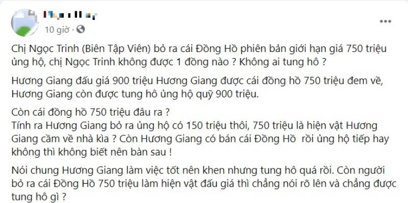 Ý kiến cho rằng Hương Giang 'cướp công' BTV Ngọc Trinh.
