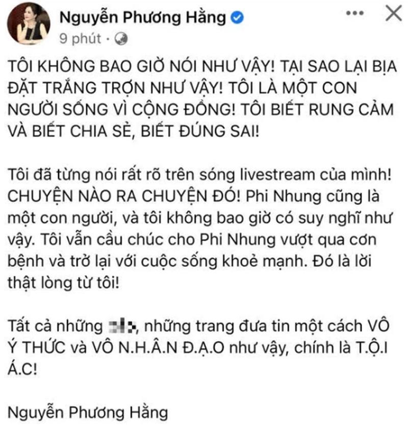 Chia sẻ của bà Phương Hằng trên trang Facebook có tích xanh