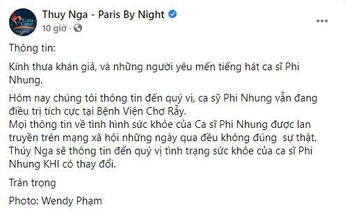Nhiễu tin về Phi Nhung, Trung tâm Thuý Nga thông báo tình hình mới nhất của nữ ca sĩ 1