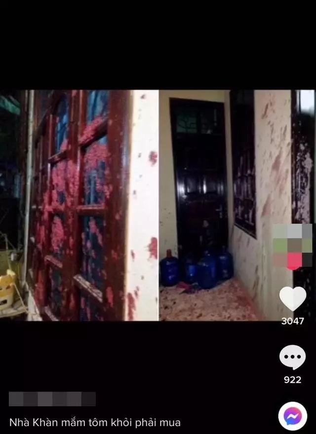 Hình ảnh lan truyền trên mạng được cho là nhà Trang Trần bị tạt sơn và mắm tôm.