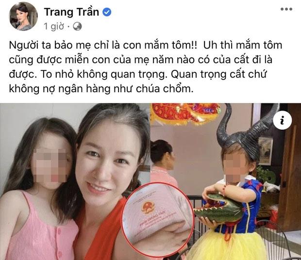 Động thái mới nhất của Trang Trần trên trang cá nhân.