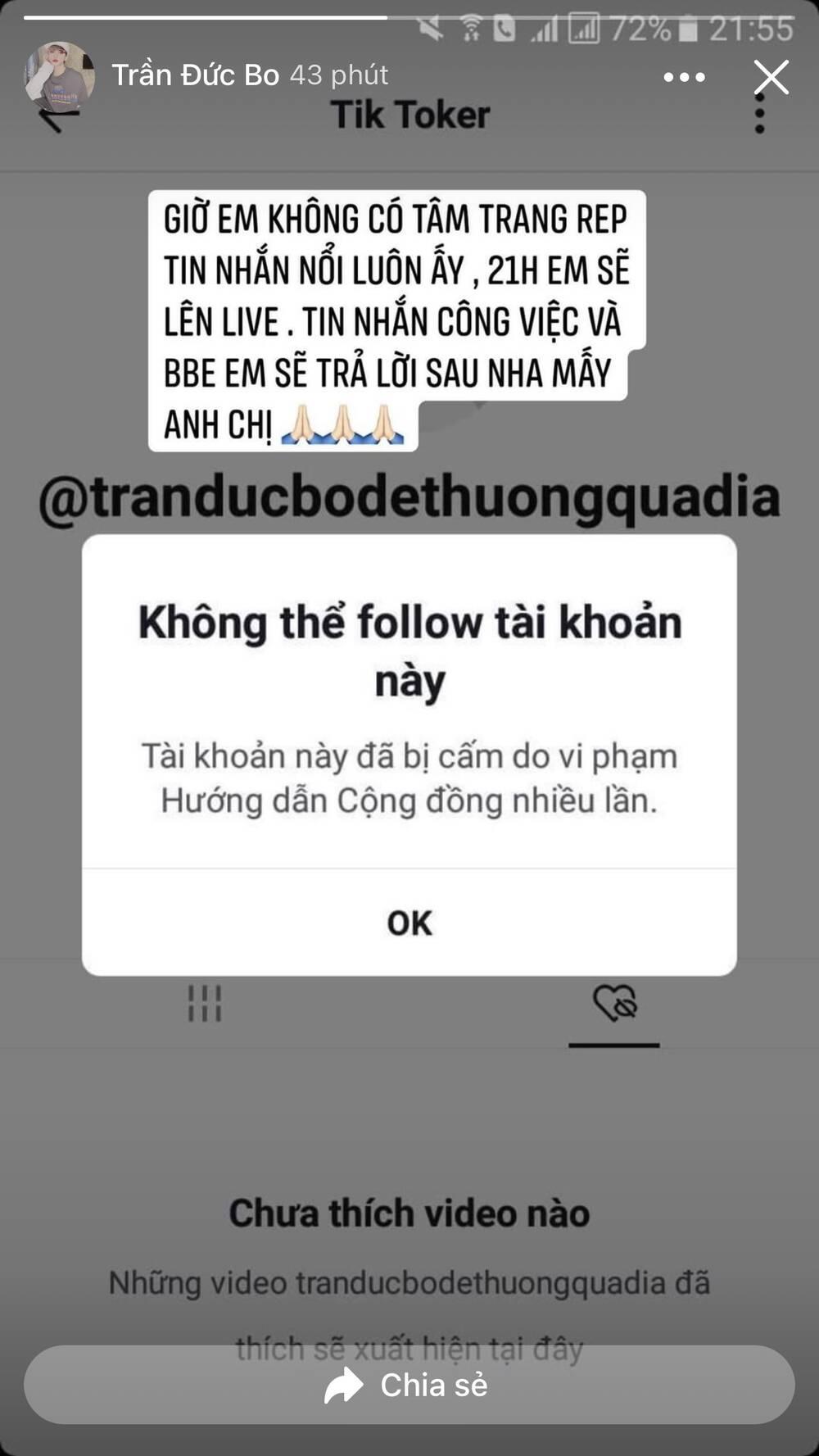 Trần Đức Bo bỗng dưng bị xoá mất tài khoản TikTok, nguyên nhân khiến chính chủ đau đầu 3
